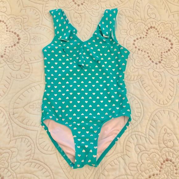0c709b9677f Old Navy Swim | Girls Heart Print Ruffle Trim Suit | Poshmark